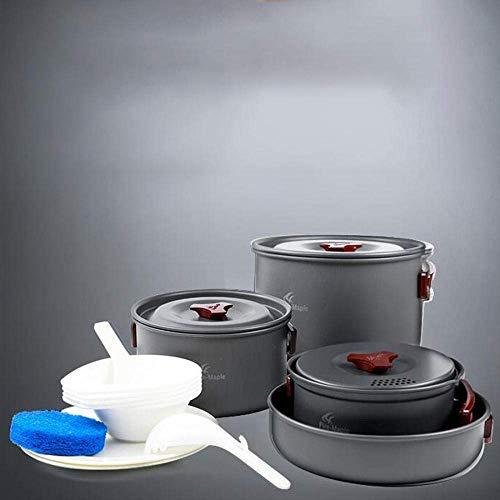 XHLLX Conjunto De Cocinero De Aluminio, Picnic 4-5 Personas Utensilios De Cocina Portátiles con Pan De Freying Bolsa De Malla, Olla Sin Pegamento Y Sartenes Mochila Portátil Al Aire Libre