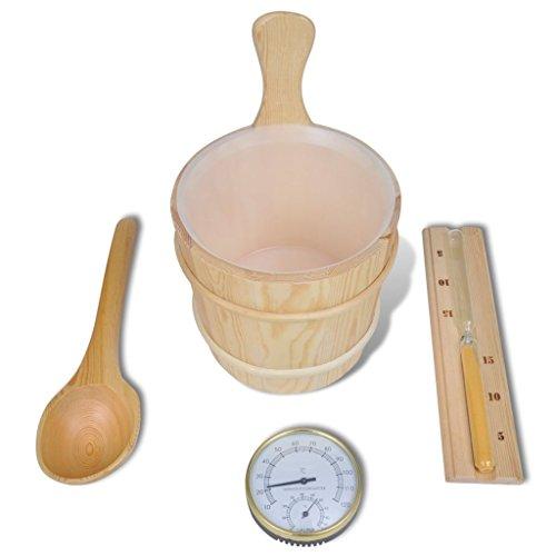 vidaXL Accessoire Sauna 5 pcs Seau Cuillère Sablier Thermomètre Kit de Sauna