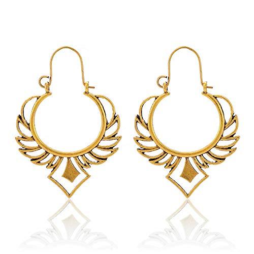FEARRIN Pendientes para Mujer Stud Luxury Golden Silver Color Pendientes Colgantes Declaración Bohemia Joyería Vintage Mujeres Pendientes Tribales Indios Oro