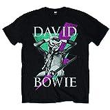 David Bowie Thunder Camiseta Manga Corta, Negro, L para Hombre