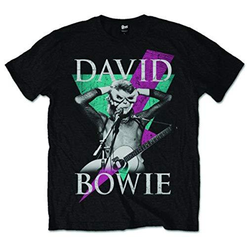 David Bowie Herren Thunder T-Shirt, Schwarz (Black), (Herstellergröße: X-Large)
