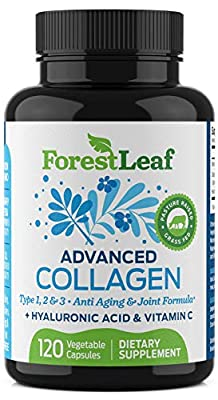 Advanced Collagen Supplement, Type 1, 2 and 3 with Hyaluronic Acid and Vitamin C - Anti Aging Joint Formula - Boosts Hair, Nails and Skin Health - Veggie Capsules - by ForestLeaf