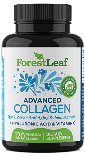 Advanced Collagen Supplement, Type 1, 2 and 3 with Hyaluronic Acid and Vitamin C - Anti Aging Joint Formula - Boosts Hair, Nails and Skin Health - 120 Veggie Capsules - by ForestLeaf
