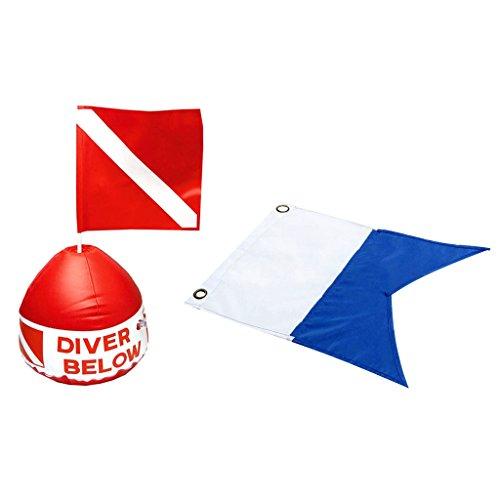 lahomia Equipo de Buceo Alpha Flag + Bandera Roja Y Blanca con Boya Inflable