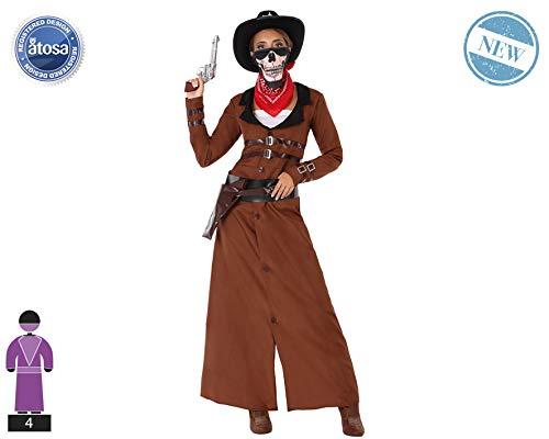 Atosa-61440 Atosa-61440-Disfraz Vaquera-Adulto Mujer, Color marrón, XS a S...