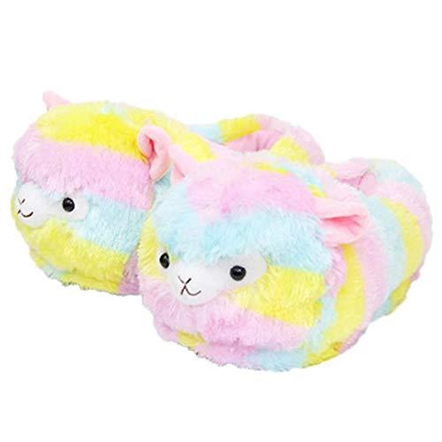 Angoter Alpaka Hausschuhe Regenbogen Nettes Weiches Plüsch-Tier-alpaka Spielzeug Puppe 1 Paar