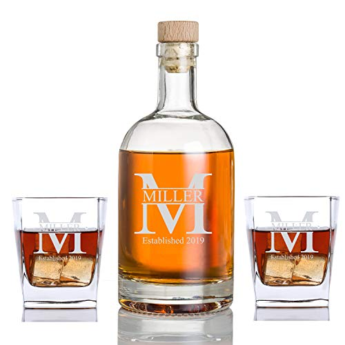 Personalized Whiskey Bourbon Cube Rocks Glass Set Bottle