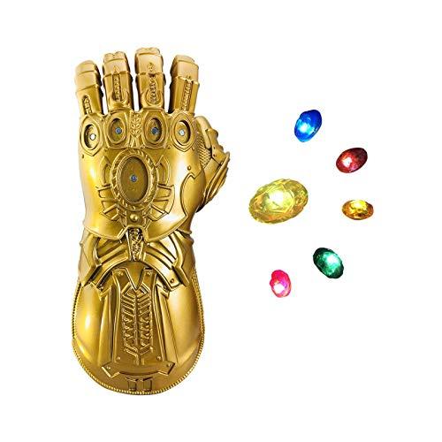 Infinity Gauntlet, Guanto di Thanos War Infinity Gems con 6 Pietre LED Rimovibili, Design del Magnete, 3 modalità Flash, Puntelli per Feste da Bar,Kids