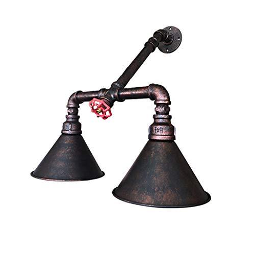 Pointhx Lámpara de pared Loft vintage, hierro artificial, 2 tubos de agua, nostalgia, soporte de luz, rústico, salón, escalera, restaurante, cocina, isla, bar, decoración, pared de mezcla