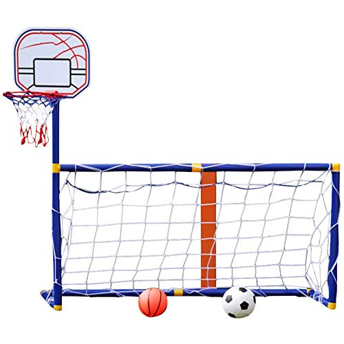 YQZ Kinder-Basketball-Ständer, 2 in 1 Innen- und Außen-Basketballplatte Fußballziel-Kombinationsspielzeug-Set, Sportballspiel Kinder