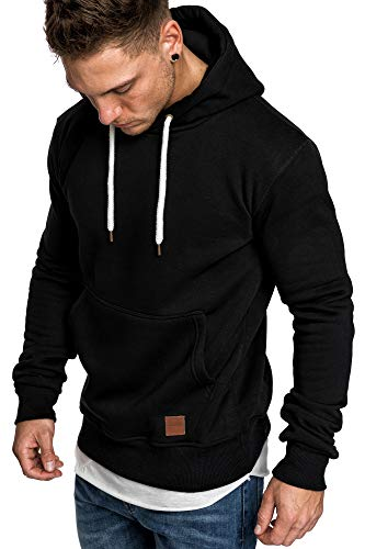 Amaci&Sons Herren Basic Kapuzenpullover Sweatjacke Pullover Hoodie Sweatshirt 4023 Schwarz L