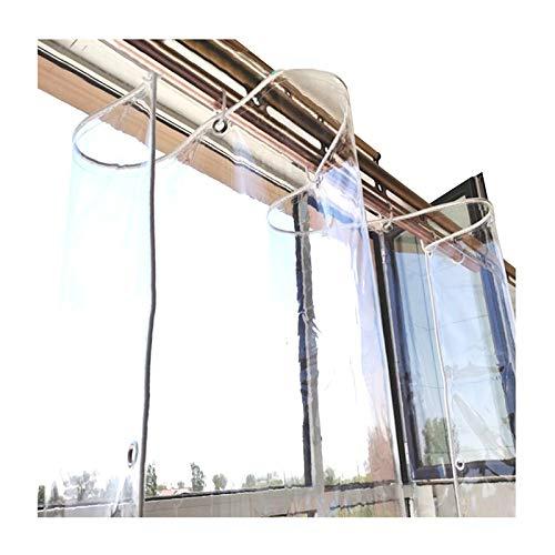 GDMING Lona De PVC, Transparente Impermeable Lona De Plástico con Agujeros Cortavientos, Al Aire Libre Resistente Al Clima Panel De Cortina Cubrir, 14 Tamaños (Color : Claro, Size : 2.4X 6m)