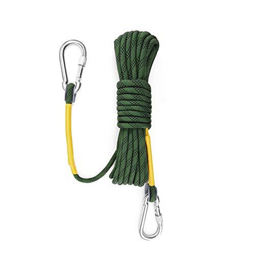 10m Statische Klettern Seil, dia 8mm Klettern Seil für Klettern Feuer Flucht Wandern Engineering Schutz,Grün