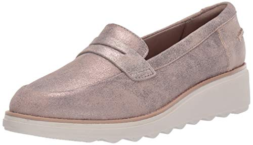 Clarks Women's Sharon Ranch Penny Loafer, Pewter Suede, 050 M US