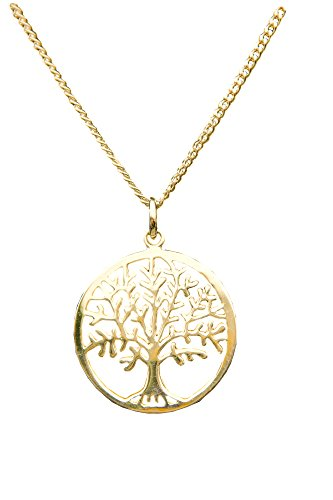 ANTOMUS 18ct YELLOW GOLD VERMEIL SILVER TREE OF LIFE YGGDRASIL ADJUSTABLE NECKLACE Diamond Cut Curb 50(1.75mm Gauge)'THREE CHAINS IN ONE' 16'-18'-20'