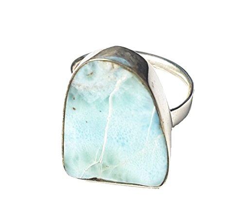 KRIO® - Larimar/blauer Pektolith als Schal Ring größenverstellbar