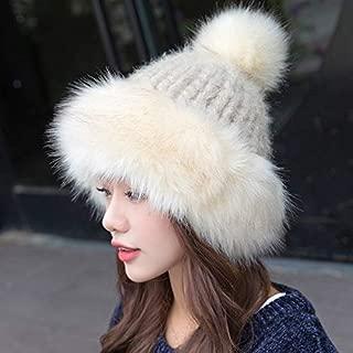 TOPmountainモンゴルの帽子 - 冬レディースニット帽、女性ロシア風帽子スノーフレークポンポン