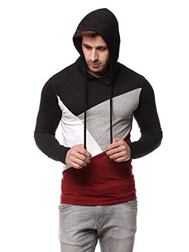 GRITSTONES Men's Hooded T-Shirt GSHDTSHT1287BLKMRN_L(42) Black