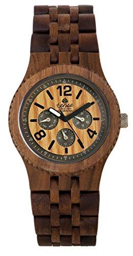Tense Adventure Vernon Triple Dial Multifunction Walnut Wood Jumbo Watch J5203W