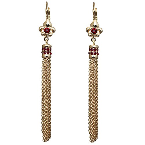 Ritzy Couture Women's Fluer de Lis Crystal Siam Ruby Tassel Leverback Drop and Dangle Earrings (Goldtone)