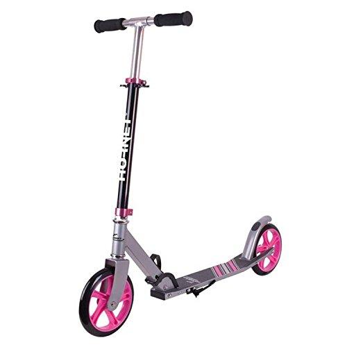 Hudora City Scooter Hornet, Bicicletta per Bambini. Unisex-Adulti, Nero/Rosa, 200 mm