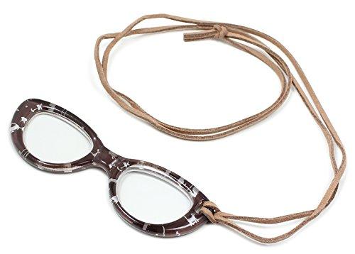 フィールドワーク ペンダントルーペ メガネ型 サハ ネコ柄 1.75倍 ブラウン LP-038BR