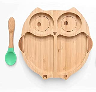 KIDSAVIA Baby Toddler Bamboo Plate and spoon with Silicone Suction - Stay Put Plate - Bamboo Plate Gripper Mat Weaning Sel...