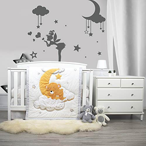 Dreaming Bear 3 Piece Designer Crib Bedding Set for Baby Boys and Girls - 100% Cotton (Unisex Nursery Includes Crib Comforter, Fitted Sheet, Adjustable Crib Skirt)