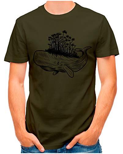 OM3® - Whale-Forest - T-Shirt | Herren | Safe Our Planet Umweltschutz Plant a Tree Printshirt | Oliv, L