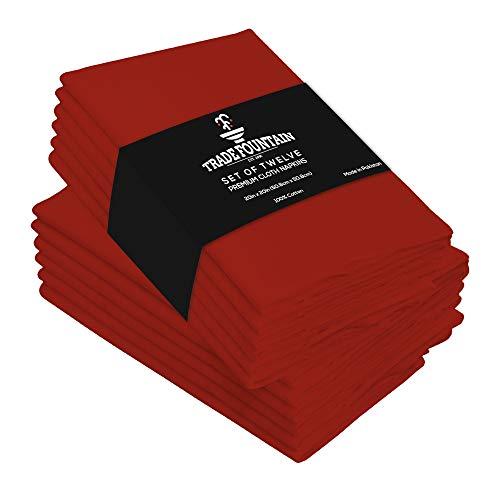 Trade Fountain Stoffservietten 12er-Set Baumwolle - 50 x 50 cm Wiederverwendbare Servietten - Übergroße Baumwollservietten aus Reiner Baumwolle - Als Abendessen-Servietten (Rot, Servietten)