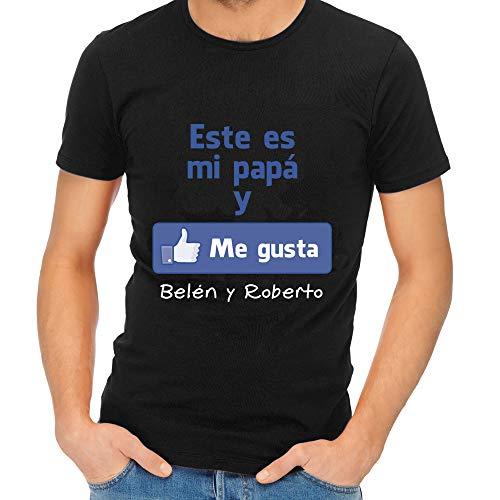 Calledelregalo Regalo para Padres por su cumpleaños, Navidad o el Día del Padre: Camiseta Personalizada Negra