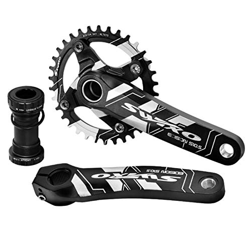 VUNDO Mountain Bike Crankset for MTB Single Speed 1x 170mm Bicylce Crank Arm Set Matching 68/73mm Bottom Bracket 104bcd Chainring Compatible with Shimano 34T
