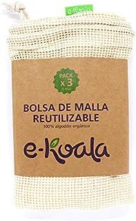e-koala Bolsas reutilizables de malla ideal para la compra   Kit de 3 bolsas de algodón orgánico   Bolsas reutilizables de...