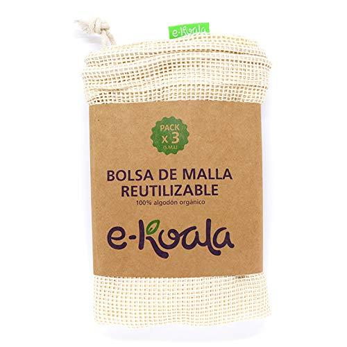 e-koala Bolsas reutilizables de malla ideal para la compra   Kit de 3 bolsas de algodón orgánico   Bolsas reutilizables de compra de la marca NOPLASTICISFANTASTIC