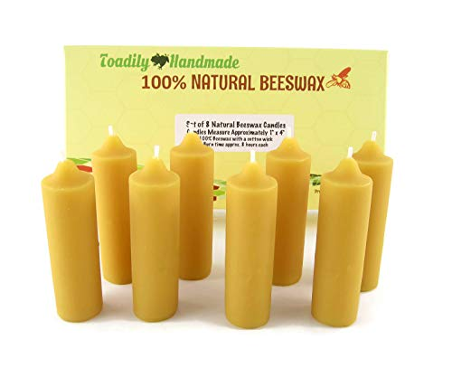 Eight (8) Hand Poured Solid Beeswax Candles in Natural - Each Candle Measures Approximately 1' x 4' - 100% Beeswax Candles by Toadily Handmade - Made in The USA