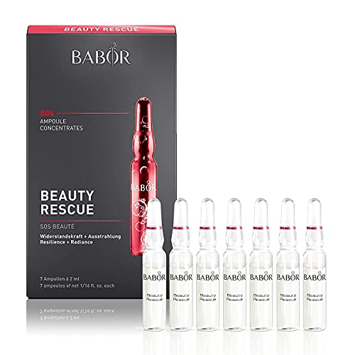 BABOR Beauty Rescue Ampoule Serum Concentrates, Repairs Dull and Weakened Skin with Epocyl and Active Marine Essence, Improves Appearance of Wrinkles, Uneven Skin Tone, and Dryness, Paraben Free
