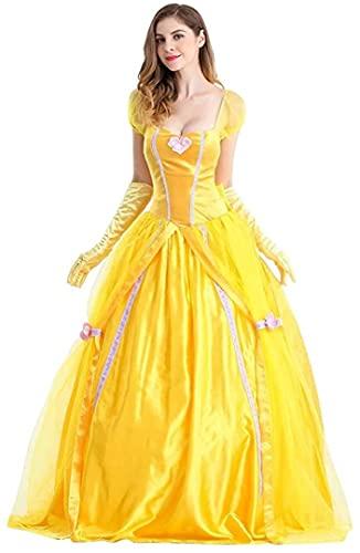 TSUSF Mujer Princesa Bella Cosplay Adulto La Bella Y La Bestia Disfraz De Halloween Manga Corta Puff Amarillo Maxi Vestido Carnaval Fiesta De Navidad Disfraces Guantes Largos A Juego (Size : XL)