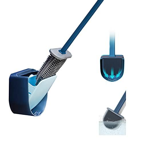 Alonzon Escobilla de inodoro y recipiente, escobilla de baño en juego de soporte de secado rápido (azul)