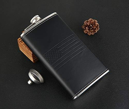 American Flag 12 oz Black Pocket Whiskey Liquor Leather Wrapped Hip Flask with Funnel and Premium Box - Stainless Steel and Leak Proof, TOX TANEAXON