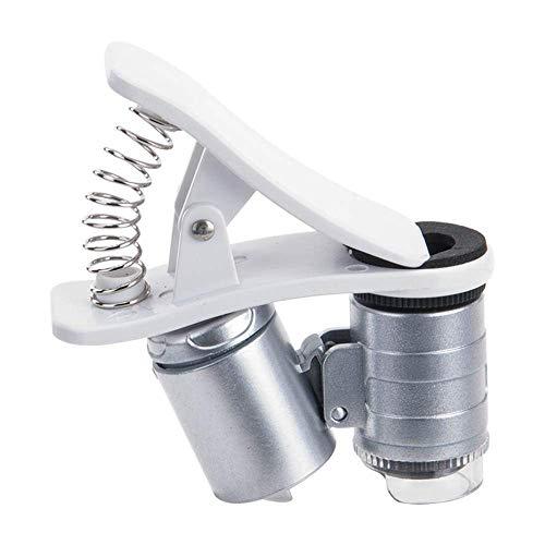 YHtech Teléfono móvil Mini Clip Portable LED microscopio Lupa de Vidrio UV Detector de divisas Linterna de Plata Adecuado para la Lectura, Lupa de joyería, WA