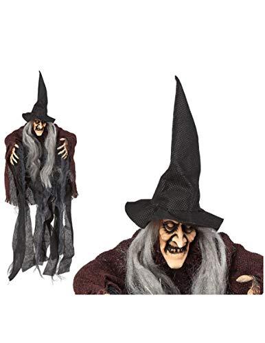 Fürchterliche Hexen-Figur Hängedekoration schwarz-braun-grau 50cm