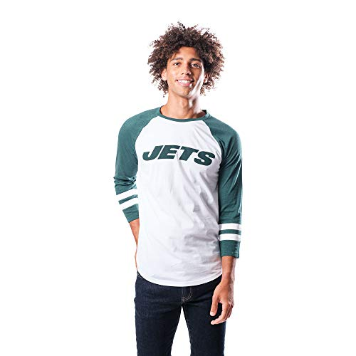 Ultra Game NFL New York Jets Mens Raglan Baseball 3/4 Long Sleeve Tee Shirt, White, Large