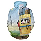 Cartoon Printed Hooded Sweatshirt Crowded Yellow Bus for Teens