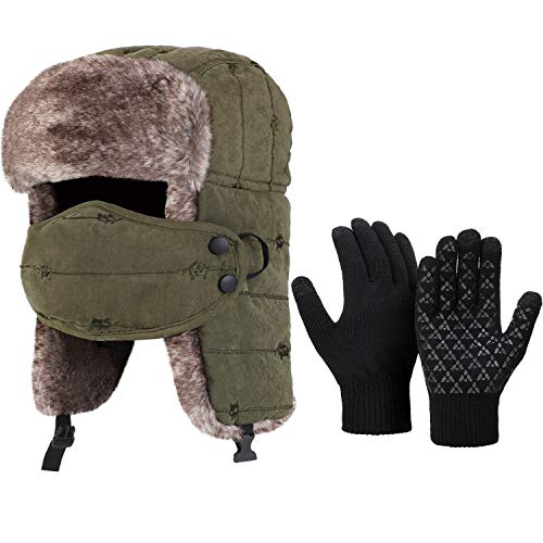 Winter Hat Gloves Set Unisex Trapper Hat Windproof Ski Hat with Ear Flaps Hunting Hat (Army Green)