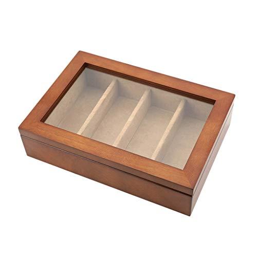 Gläser Aufbewahrungsbox Holz Aufbewahrungsbox Display Brillenbox Schmuckschatulle Einfache Finishing Box (Color : Brown)