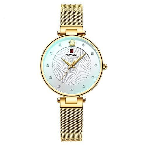 CHICAI Relojes de lujo ultrafinos para mujer, de cuarzo, analógico, de cristal, color azul, de malla, casual, resistente al agua, color (color: caja dorada)