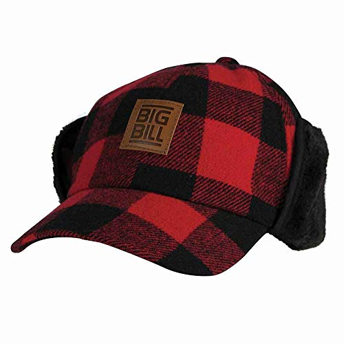 Ultra Warm Red Buffalo Plaid Wool Hunting Cold Weather Hat Baseball Cap with Ear Flaps to Size 2X Made in Canada (X-Large)