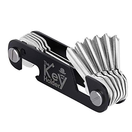 Smart Compact Key Organizer Keychain, Key Holder Keyring, Key Chain Pocket Key Keeper up to 12 Keys with Stainless Steel Screws, Bottle Opener/Phone Stand, Folding Keychain Multitool