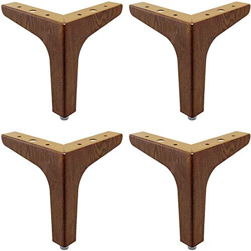 4 Pack Möbelbeine, DIY Möbel Metalltischbeine mit Kieselgelschutzfüße, perfekt für Sofa, Couch, Bett, Couchtisch brown-10cm