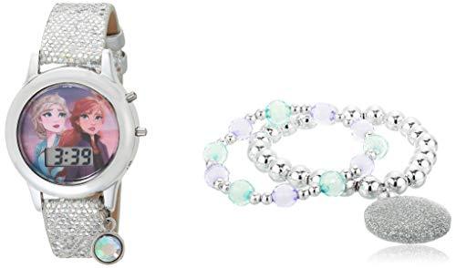 Disney Girls' Quartz Watch with Rubber Strap, Multicolor, 13 (Model: FZN45044AZ)